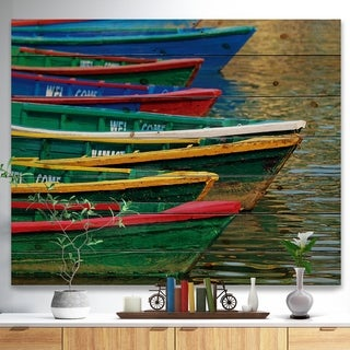 Designart 'Color Boats on Phewa Lake Nepal' Boat Print on Natural Pine Wood - Multi-color