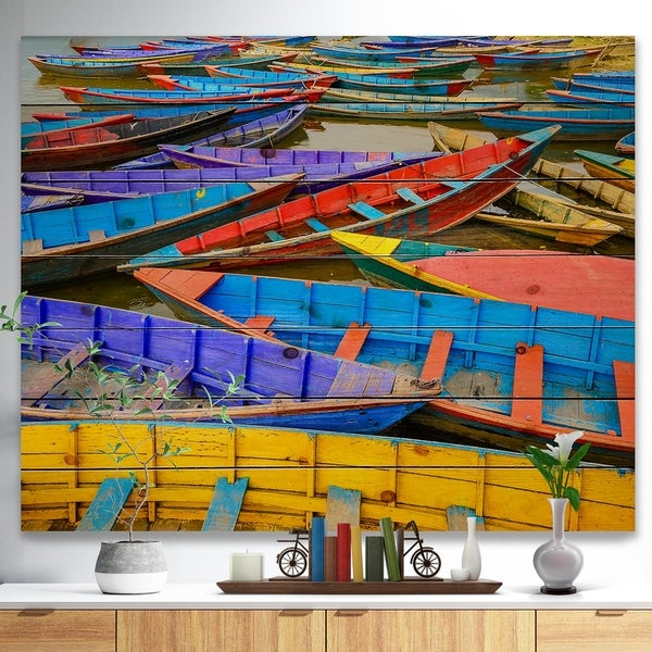 Designart 'Old Colorful Sailboats in Lake' Boat Print on Natural Pine Wood - Multi-color