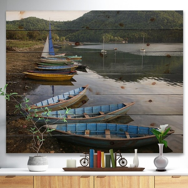 Designart 'Wonderful View of Pokhara Boats' Boat Print on Natural Pine Wood - Multi-color
