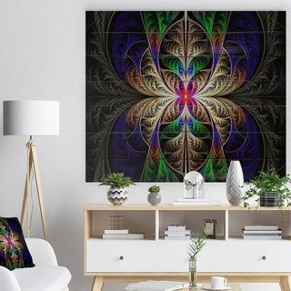 Designart 'Fabulous Multi Color Fractal Art' Abstract Print on Natural Pine Wood - Multi-color