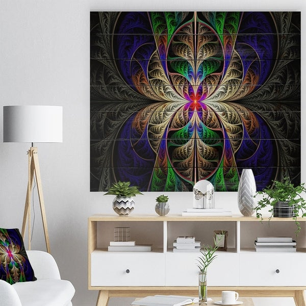 Designart 'Fabulous Multi Color Fractal Art' Abstract Print on Natural Pine Wood - Multi-color