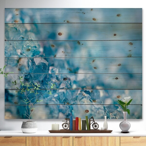 Designart 'Blue crystals Agate -Stone Print on Natural Pine Wood - Blue