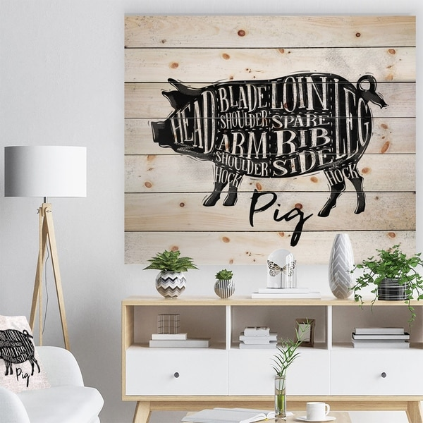 Designart 'Pig pork cutting scheme' Farmhouse Animal Painting Print on Natural Pine Wood - White