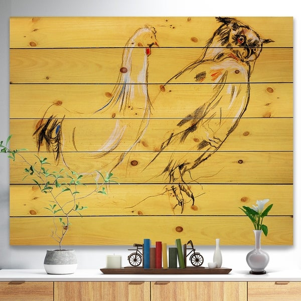 Designart 'Owl and rooster painting' Animals Sketch Painting Print on Natural Pine Wood - Multi-color