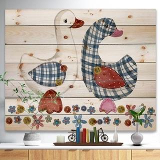 Designart 'Goose. cartoon farm animal. cute pet watercolor illustration.' Animals Painting Print on Natural Pine Wood - White