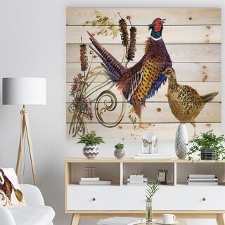 Designart 'Pheasant Bird watercolor illustration' Farmhouse Animal Painting Print on Natural Pine Wood - White
