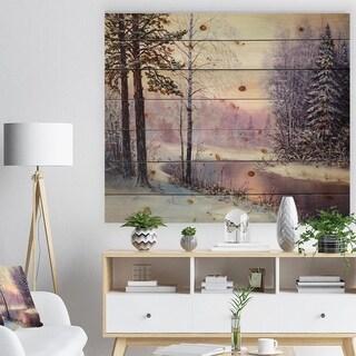 Designart 'River in Winter Landscape' Landscapes Painting Print on Natural Pine Wood - White