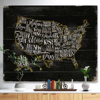 Designart 'United States Chalk Yellow Vintage Map' Maps Painting Print on Natural Pine Wood - Black