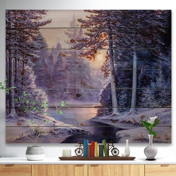 Designart 'Winter Forest with the River in Frosty Day' Landscapes Painting Print on Natural Pine Wood - White