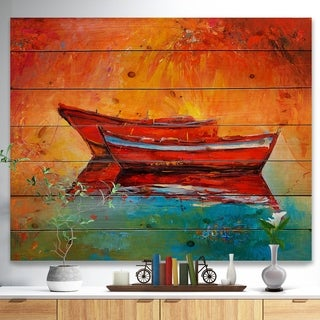 Designart 'Red Boats over Golden Sunset' Nautical Painting Print on Natural Pine Wood - Orange