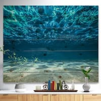 'Ocean Bottom Beneath the Surface' Sea & Shore Print on Natural Pine Wood - Blue