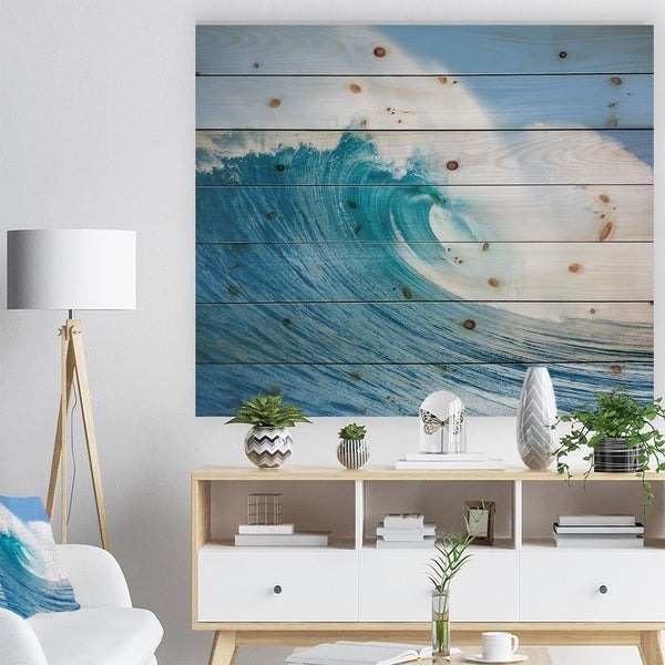 Designart 'Blue Ocean Wave' Sea & Shore Print on Natural Pine Wood - Blue