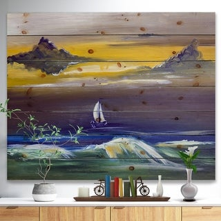 Designart 'Sailing yacht in storm' Sea & Shore Painting Print on Natural Pine Wood - Blue