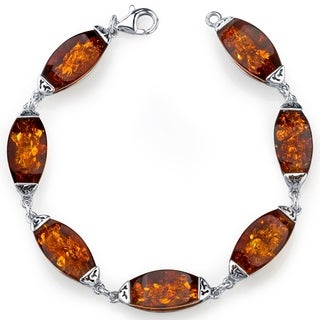 Baltic Amber Gallery Bracelet Sterling Silver Cognac Color