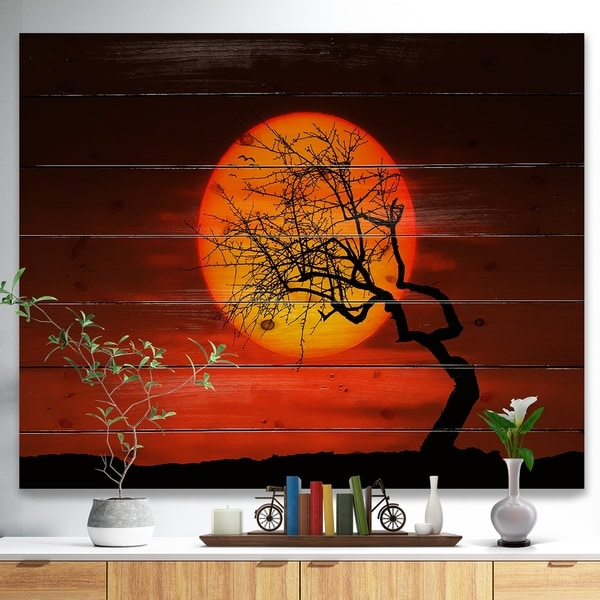 Designart 'Birds and Tree Silhouette at Sunset' Landscape Print on Natural Pine Wood - Multi-color