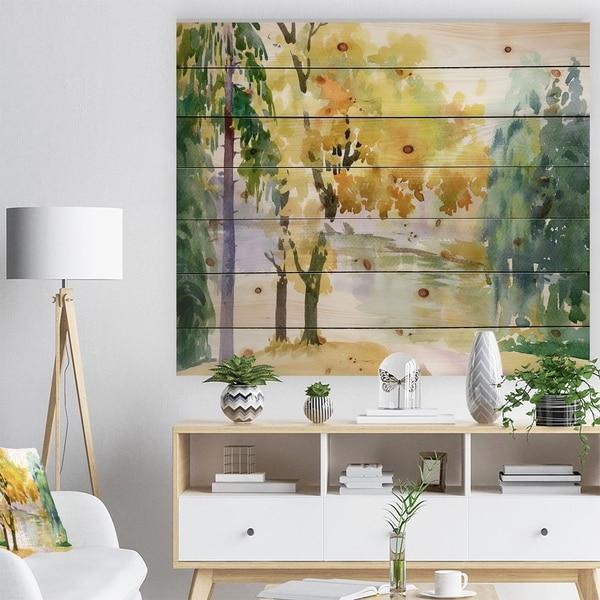 Designart 'Beautiful Autumn Forest Watercolor' Landscape Print on Natural Pine Wood - Multi-color