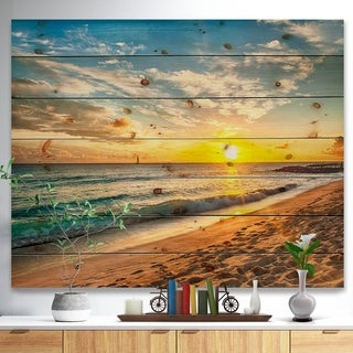 Designart 'White Beach in Island of Barbados' Modern Seascape Print on Natural Pine Wood - White