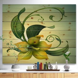 Designart 'Yellow Fantasy Flower' Floral Print on Natural Pine Wood - Multi-color