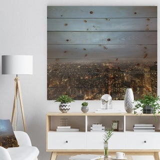 Designart 'Shinjuku District View Point' Cityscape Print on Natural Pine Wood - Multi-color