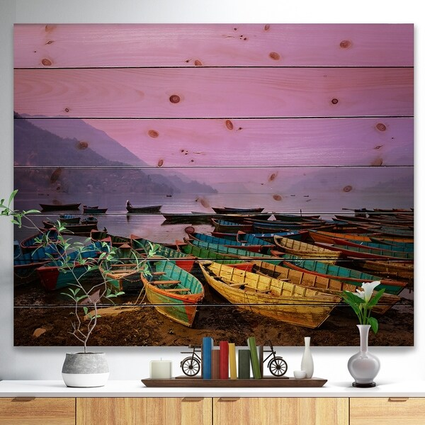 Designart 'Boats under Twilight Sky in Phewa' Boat Print on Natural Pine Wood - Multi-color
