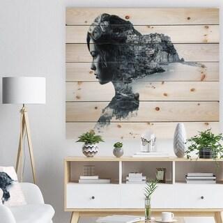 Designart 'Woman Portrait Double Exposure' Portrait Print on Natural Pine Wood - Black