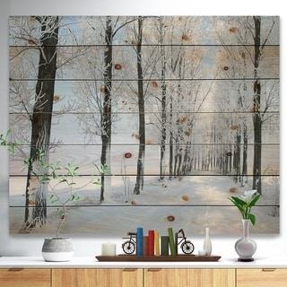 Designart 'Beautiful Winter Forest Lane Photo' Forest Print on Natural Pine Wood - White
