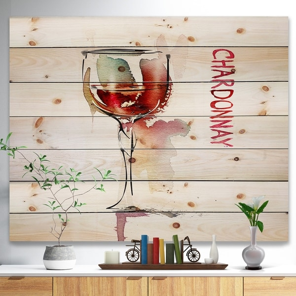 Designart 'Red Wine on White Background' Contemporary Print on Natural Pine Wood - Red