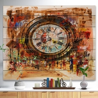 Designart 'People and Time Acrylic Painting' Abstract Print on Natural Pine Wood - Brown