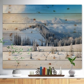 Designart 'Sunny Morning in Mountains' Landscape Print on Natural Pine Wood - Multi-color