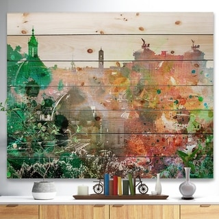 Designart 'Colorful City Watercolor' Landscape Print on Natural Pine Wood - Multi-color