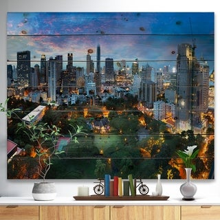 Designart 'Bangkok City Skyline' Cityscape Print on Natural Pine Wood - Multi-color