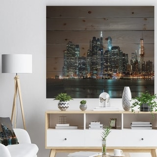 Designart 'Evening New York Panorama' Cityscape Print on Natural Pine Wood - Multi-color