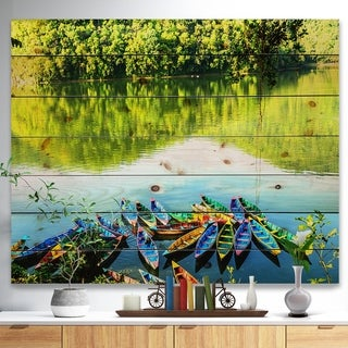 Designart 'Boats in the Lake Pokhara Nepal' Boat Print on Natural Pine Wood - Multi-color