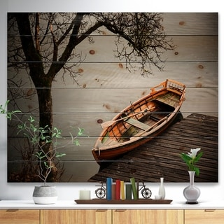 Designart 'Little Rowing Boat Ferry' Boat Print on Natural Pine Wood - Multi-color