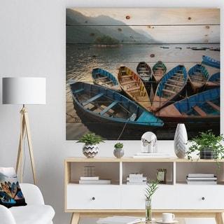 Designart 'Beautiful Boats in Phewa Lake' Boat Print on Natural Pine Wood - Multi-color