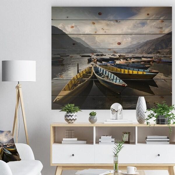 Designart 'Pokhara Lakeside Boats' Boat Print on Natural Pine Wood - Multi-color