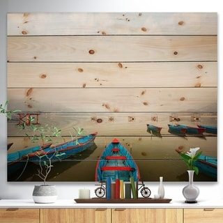 Designart 'Moving Boats in Mountain Lake' Boat Print on Natural Pine Wood - Multi-color