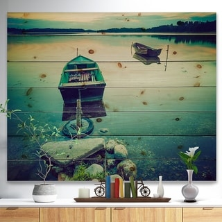 Designart 'Boats in Vintage Style Lake' Boat Print on Natural Pine Wood - Multi-color