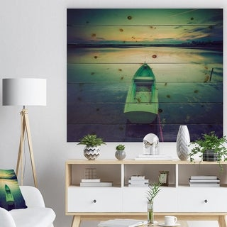 Designart 'Boat at Sunset in Vintage Lake' Boat Print on Natural Pine Wood - Multi-color