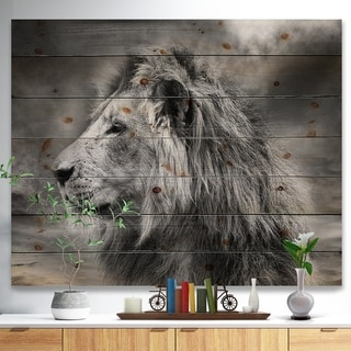 Designart 'Grey Wild African Lion' Animal Print on Natural Pine Wood - Grey