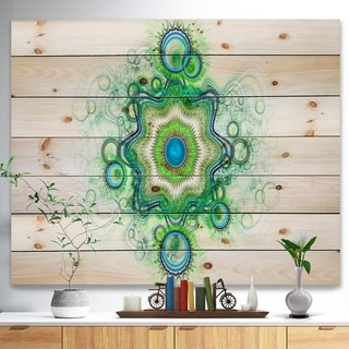 Designart 'Cabalistic Star Fractal Flower' Abstract Print on Natural Pine Wood - Multi-color