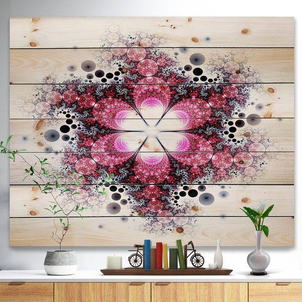 Designart 'Violet Fractal Flower Pattern' Abstract Print on Natural Pine Wood - Multi-color
