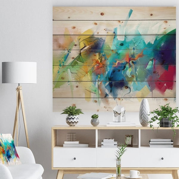 Designart 'Brush Stroke Colorful Oil Painting' Contemporary Painting Print on Natural Pine Wood - White
