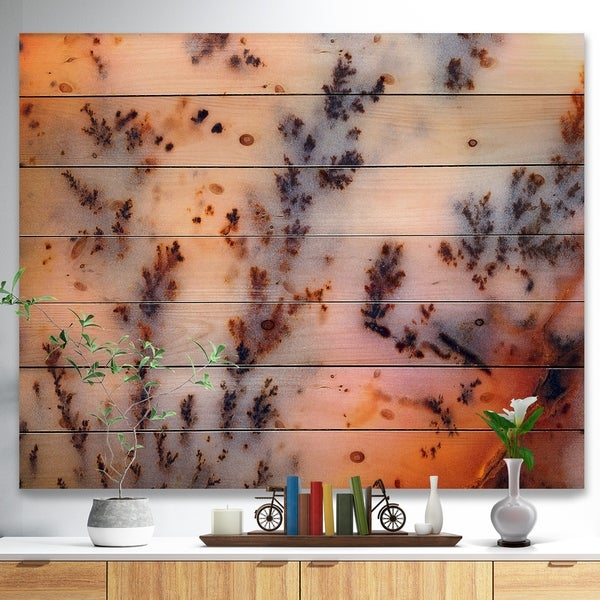Designart 'Moss Agate cream -Stone Print on Natural Pine Wood - Brown