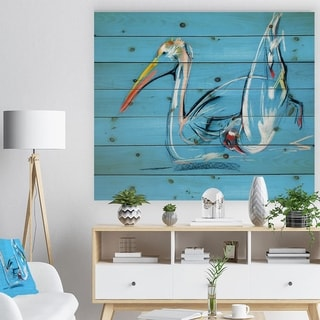 Designart 'Pelican painting' Animals Sketch Painting Print on Natural Pine Wood - Blue