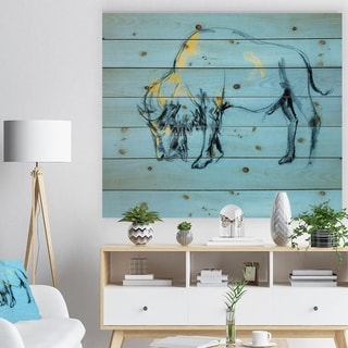 Designart 'Buffalo painting' Animals Sketch Painting Print on Natural Pine Wood - Blue