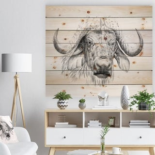 Designart 'Pencil Bufallo Sketch in Black and White' Animals Painting Print on Natural Pine Wood - White
