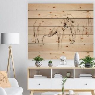 Designart 'Elephant sketch' Animals Sketch Painting Print on Natural Pine Wood - Brown