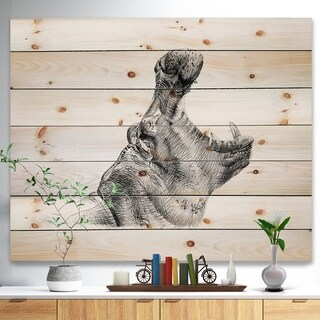 'Pencil hippo Sketch in Black and White' Animals Painting Print on Natural Pine Wood - White