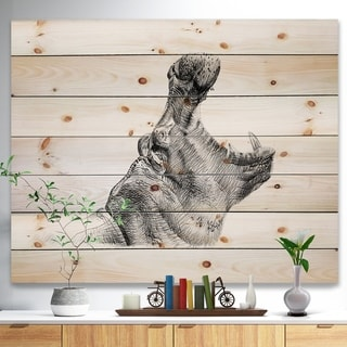 Designart 'Pencil hippo Sketch in Black and White' Animals Painting Print on Natural Pine Wood - White
